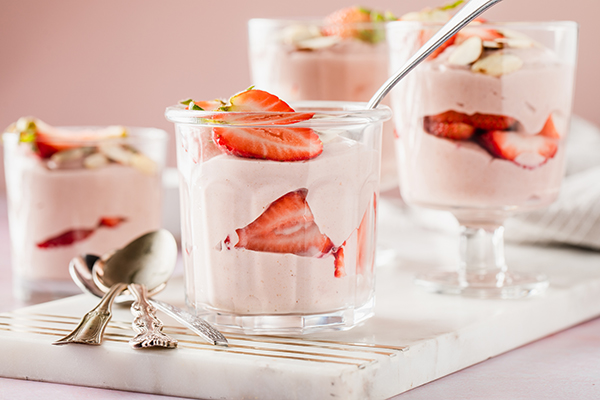 Shakeology Strawberries and Cream Mousse in glasses