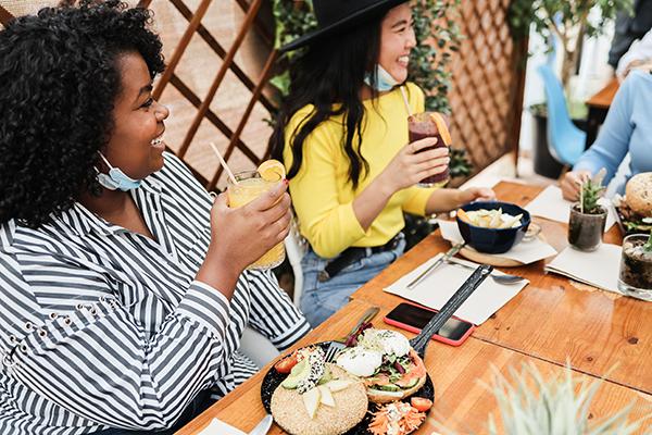 Women eating brunch during coronavirus