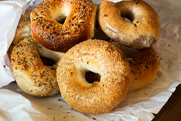 Bagels on a table