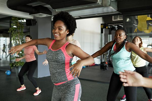 Women in group dance class