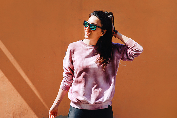 Woman wearing sunglasses on sunny day