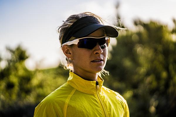 Female runner wearing wraparound sunglasses