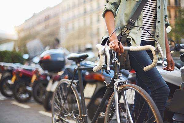 Woman commuting on a bike