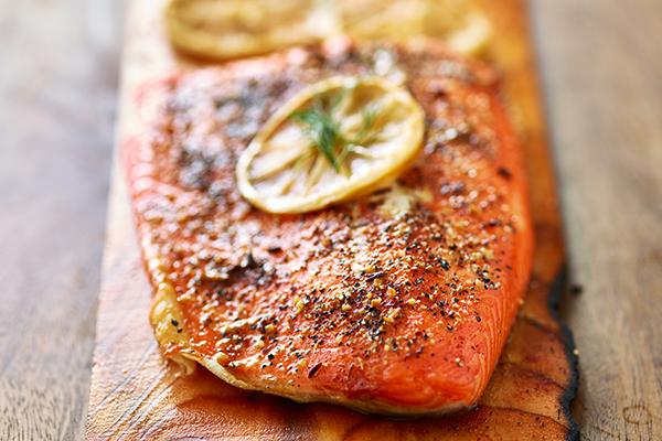Grilled salmon on cedar plank.
