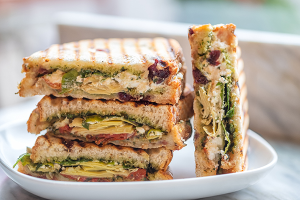 Vegetarian sandwiches stacked on top of each other