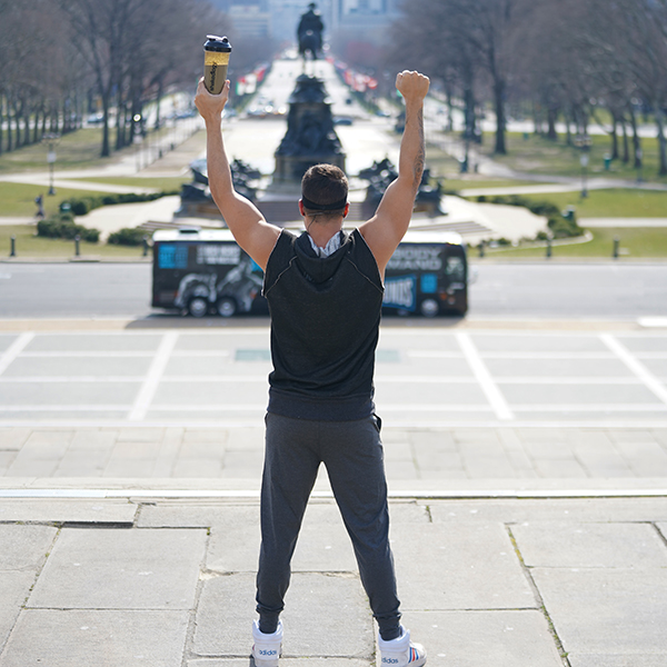 "Joel Freeman on ""Rocky"" steps"