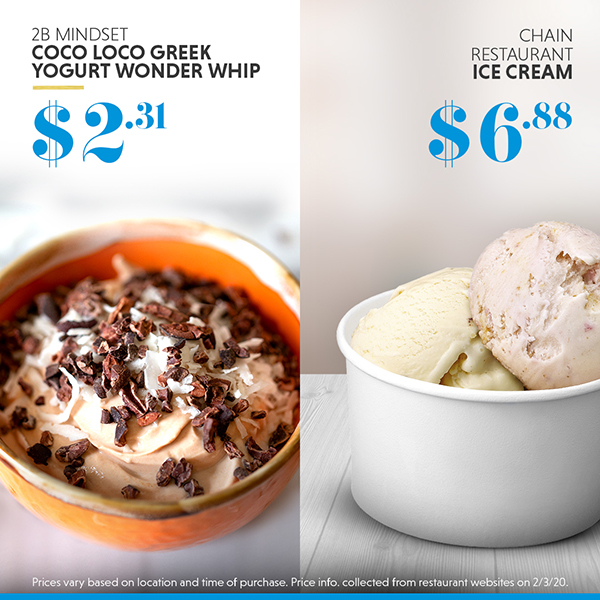 Greek yogurt dessert vs. ice cream