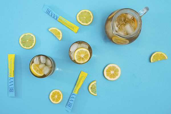 BEVVY stick packs, iced tea glasses