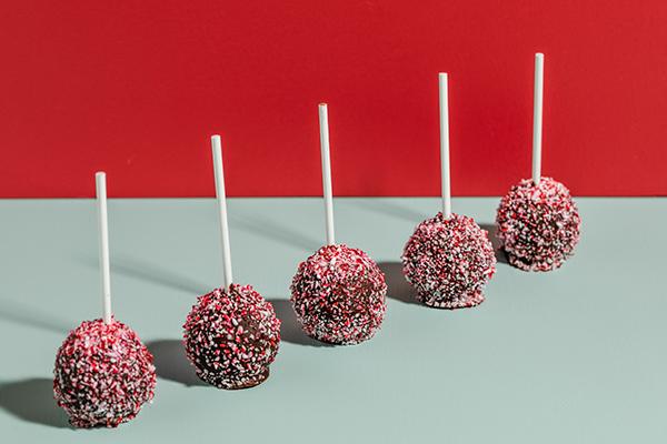 Peppermint mocha cake pops in a row