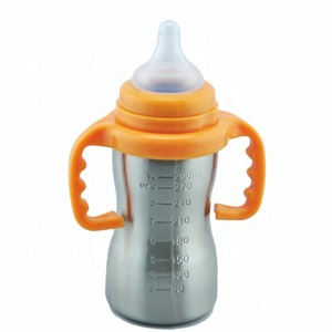8bef8af35 Great for Kids Stainless Steel Feeding Bottle With Top Food Save Silicone  Nipple 6oz 10oz Baby