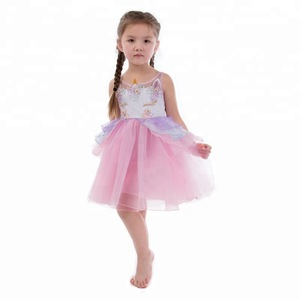 Hot Sale Sleeveless Kids Party Clothing Wholesale Baby Girls Mesh Fluffy  Unicorn Princess dress 202b3e0faebf