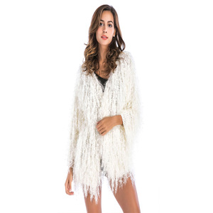 973bbb1b93ea Chunky Knitted Handmade Design White Fuzzy Cardigan Sweater for Women