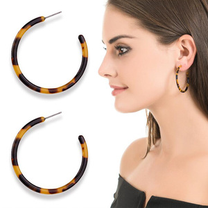 Leopard 35 55 60MM Acetate Hoop Earrings Acrylic Round Circle Resin Earrings  for Women f62e58b93cab