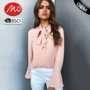 e434041654edc8 Women clothing Front tie office long sleeve neck designs ladies blouse for  wholesale