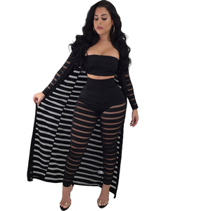 45631e01a37da Summer Women Tube Top And Bandage 2 Piece Pants Set With Long Coat