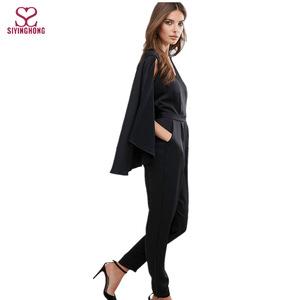 c5786d5723a35 China supplier fashion v-neckline black formal cape jumpsuit for women