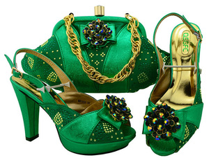 Latest Design Matching Italian Shoe and Bag Set.Green Wedding and Party African  Shoes and 83dfa7998242