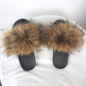 83686ba49387 Fashion Girls Beach Slipper Real Fur Slippers for SALE  Women Raccoon Fur  Slides