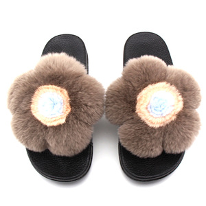 e9e22e78d09b Lovely Plush Rex Rabbit Fur Slides Slippers Flower Bud Slippers For Women