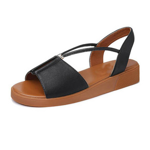 1dba3ba223a1 Girls slippers and sandals Outdoor shoes flat sandal footwear Branded  Genuine leather woman flat sandals for