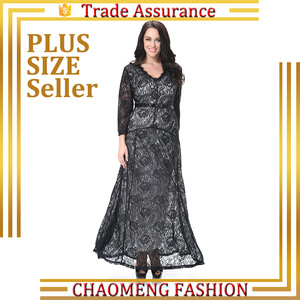 e5d78121fa4 Long Sleeve Flower Print Lace Maxi Dress For Plus Size Women Clothing