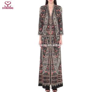 78b850c12c6 wholesale plus size kitty silk pakistani v-neck floral maxi dress silk  fabric for women