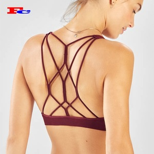 f6ef17df4aa81 Women Fitness Clothing Wholesale Sexy Strappy Sports Bra For Female Yoga Gym