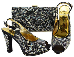 44bf93c1098 New Arrival Italian Style Rhinestone Woman Black Shoes And Bag Set African  High Heels Shoes And