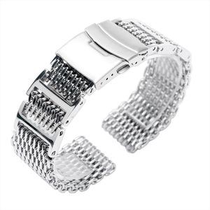 45cfb822a83 20mm 22mm 24mm Luxury Silver Stainless Steel Shark Mesh Watch Band Men  Women Replacement Wrist Watch