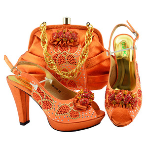 011b3ae13877 Wholesale China women dress matching italian shoes and bag set for African  party
