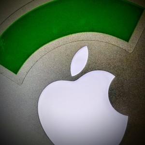 Apple Logo with Republic Wireless Logo on top