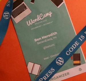 image of WordCamp Raleigh 2015 Organizer badge.