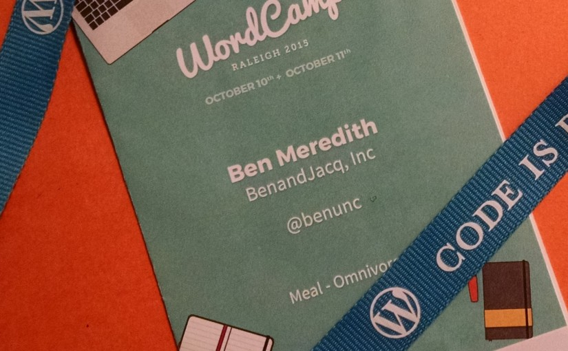 image of WordCamp Raleigh 2015 Organizer badge.