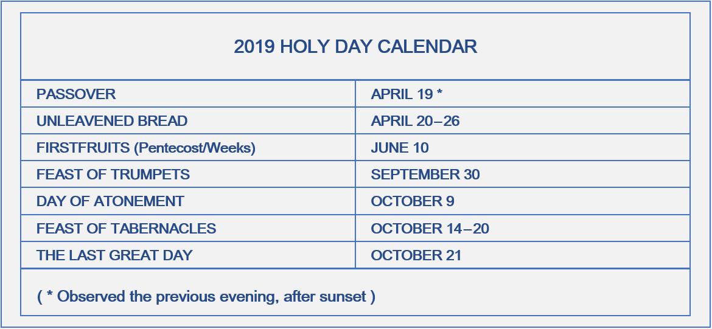 Holy Days - Bethel Church of God