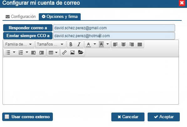 CRM SalesUp: configuracion correo de ventas