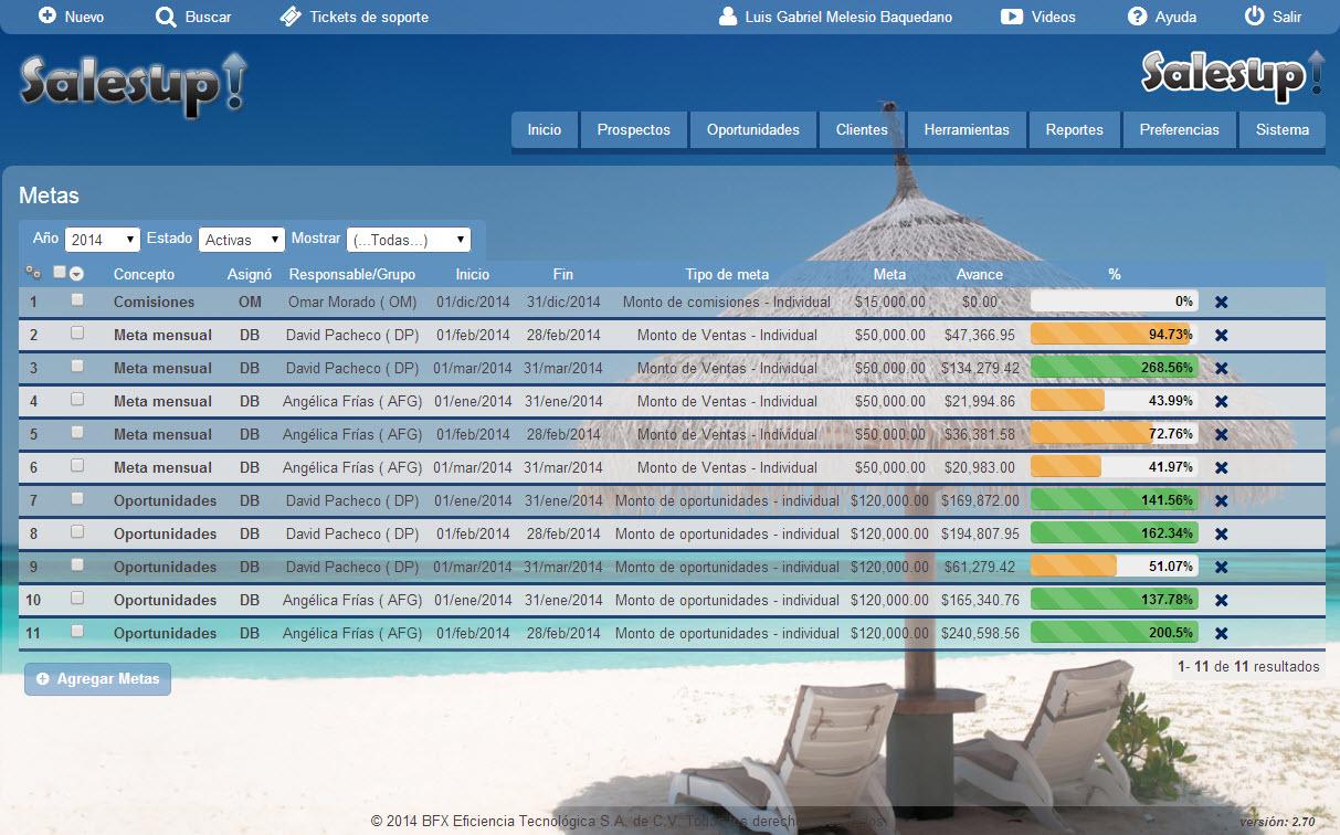 CRM SalesUp: Configurando metas