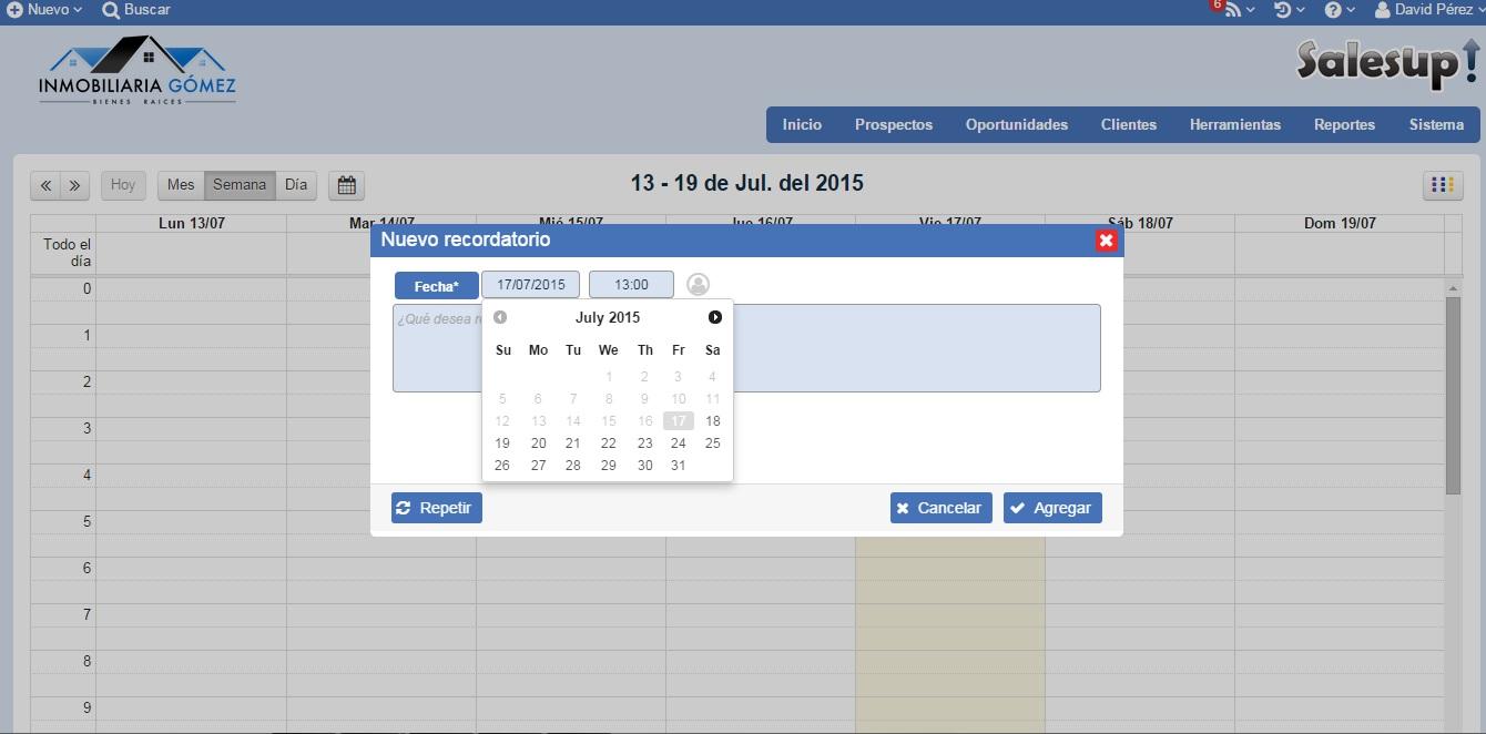 CRM SalesUp: configura tu agenda