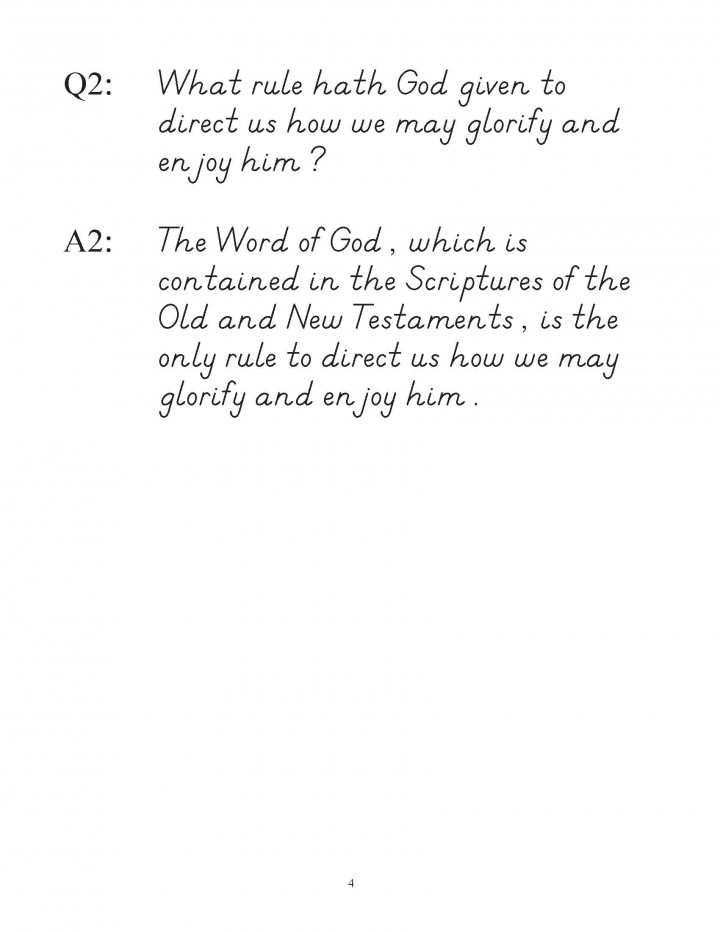Westminster Shorter Catechism Copybook Modern Manuscript wtih Ruled Lines sample pages 1 to 7_Page_4
