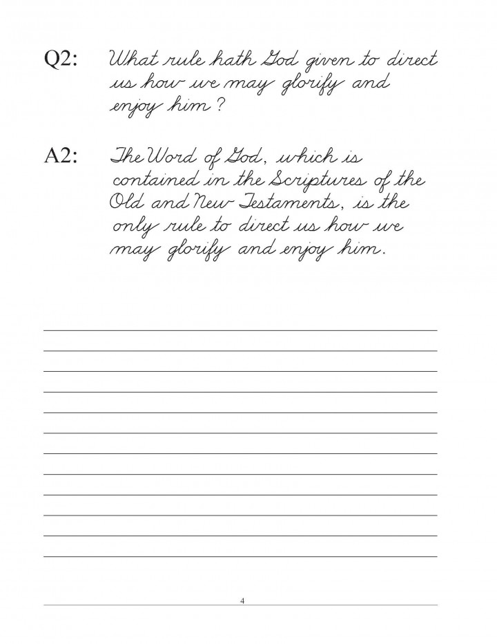 Westminster Shorter Catechism Copybook Traditional Cursive with Narrow Lines sample pages 1 to 7_Page_4