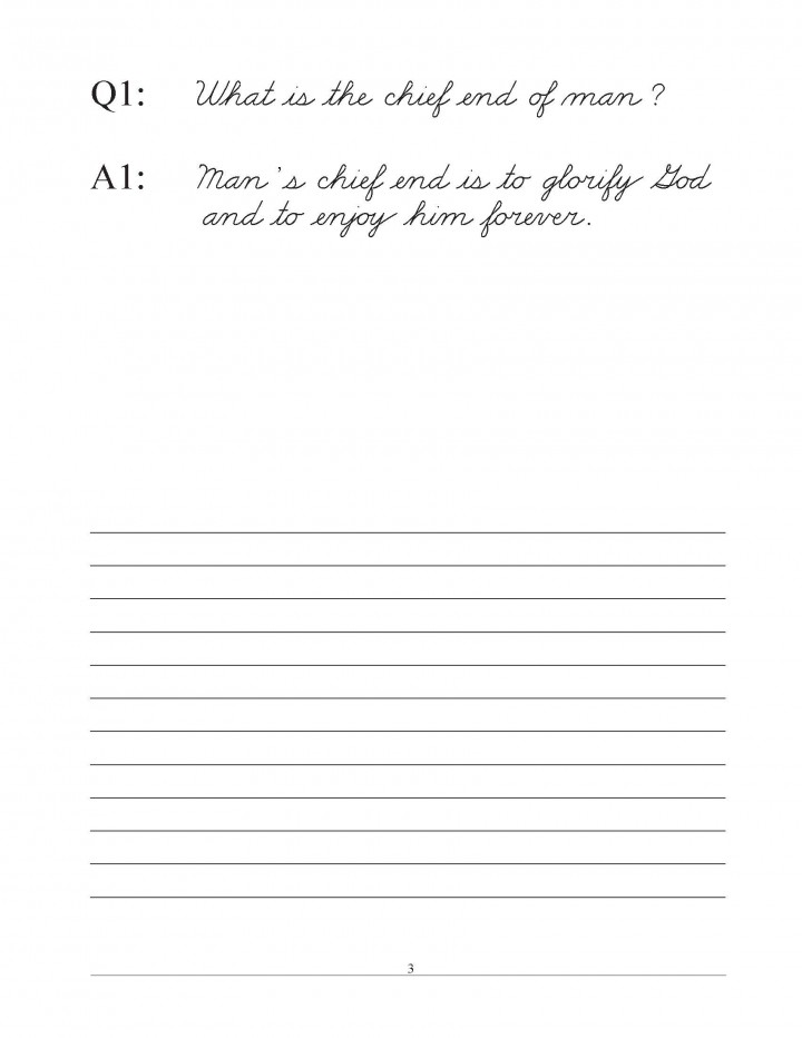 Westminster Shorter Catechism Copybook Traditional Cursive with Narrow Lines sample pages 1 to 7_Page_3