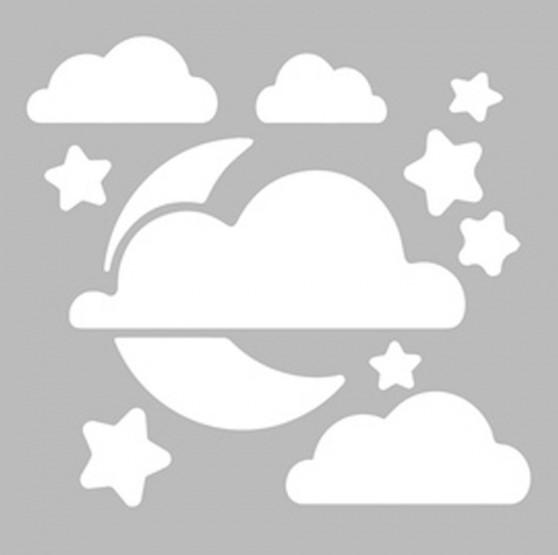 Bulut Ay Yildiz Gece Stencil Ev Dekorasyon Fiyati Biboya Com Tr