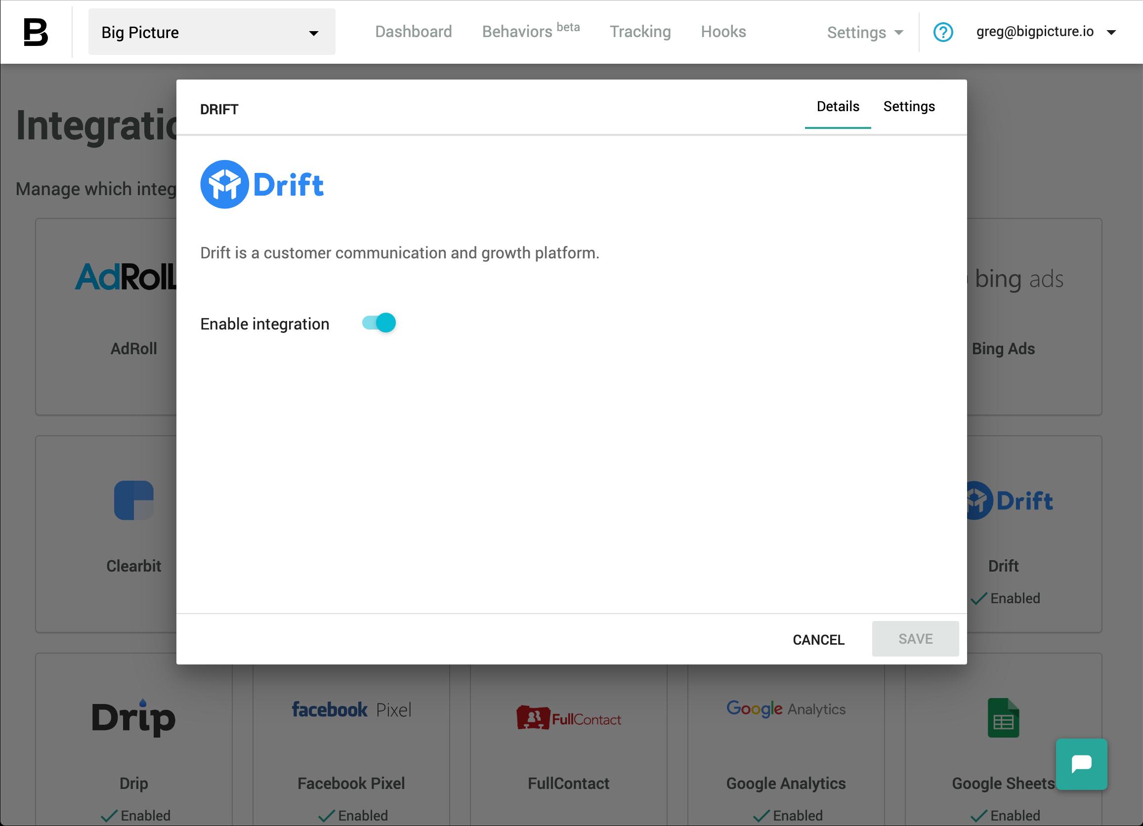 Drift settings - enabled