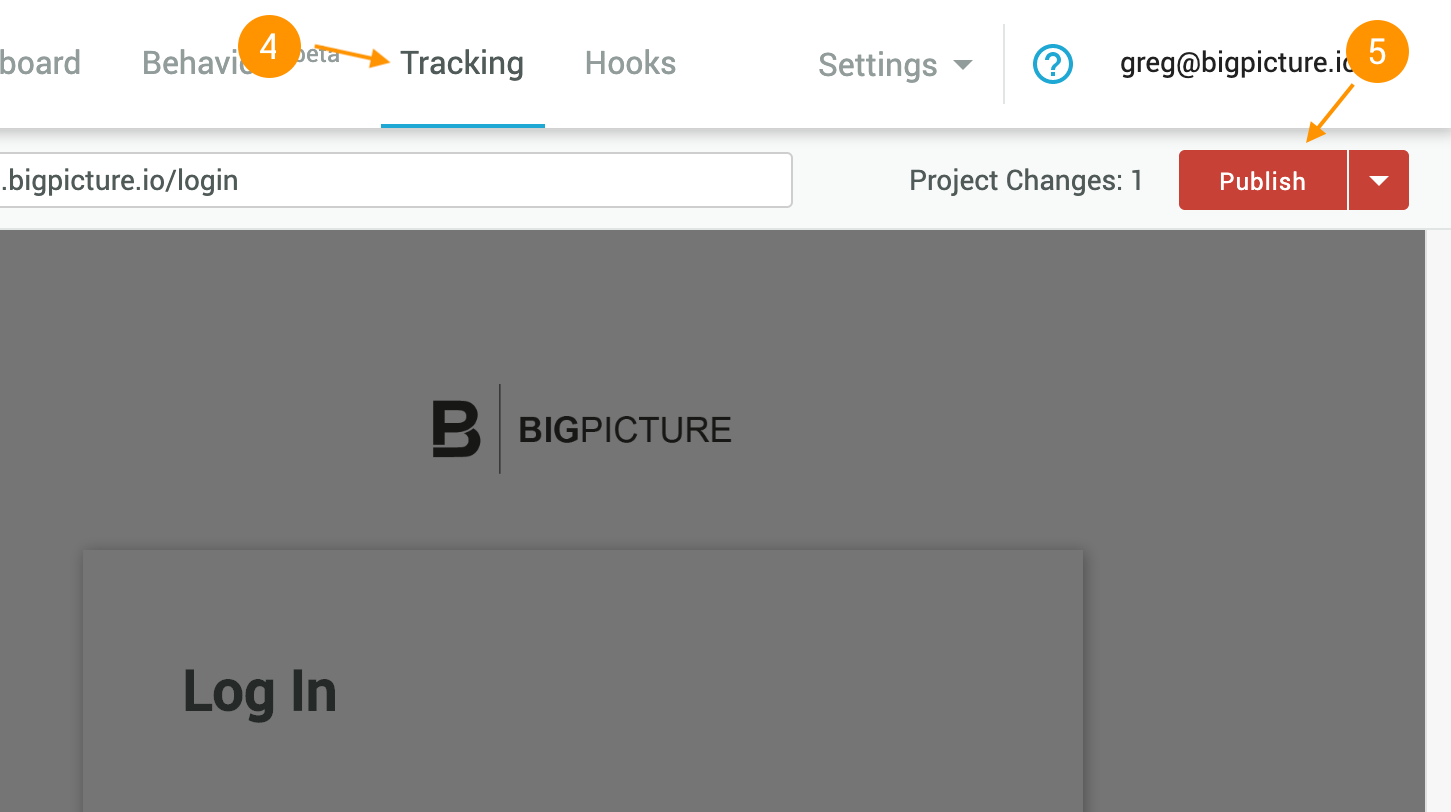 Publish button on Tracking page