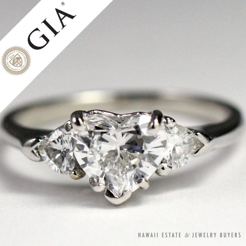 a60583d372f08 Details about GIA 1.07CT HEART SHAPE DIAMOND W/ HEART SHAPED SIDES PLATINUM  ENGAGEMENT RING