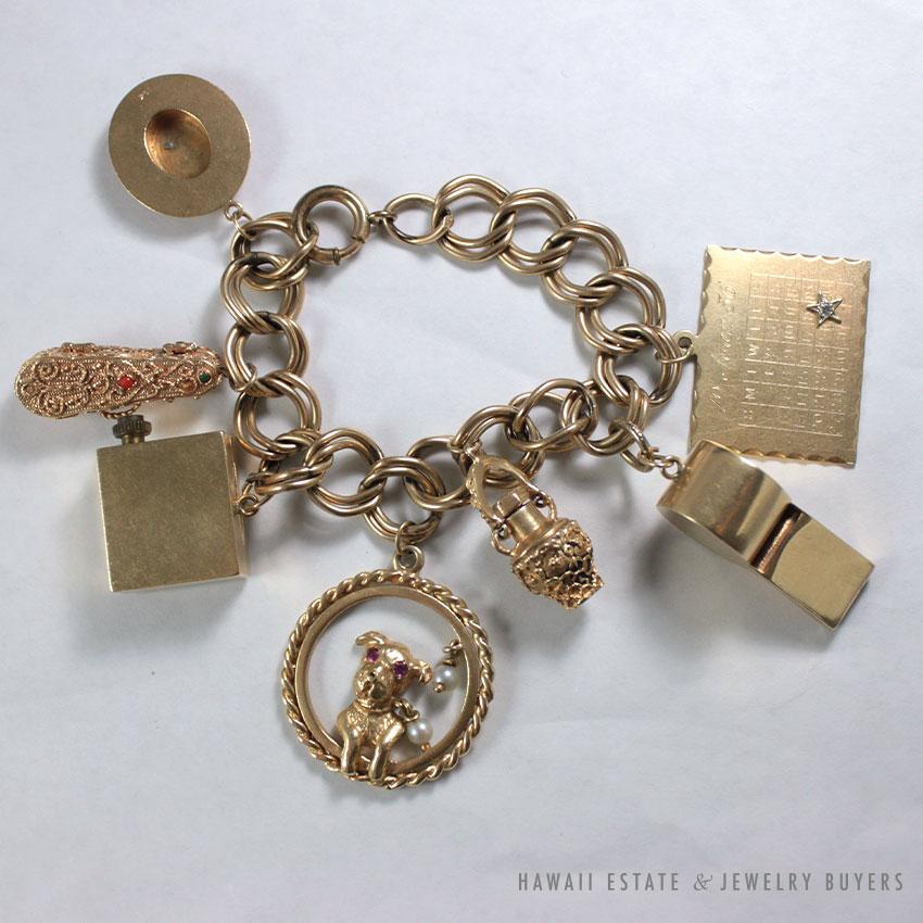 Vintage 14k Gold Charm Bracelet: VINTAGE CHARM BRACELET 84G 14K GOLD STAMPED