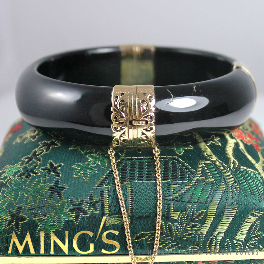 92a031f1b5e Details about MING'S HAWAII SIGNED BLACK JADE 17MM 14K YELLOW GOLD HINGED  BANGLE + BOX RECEIPT