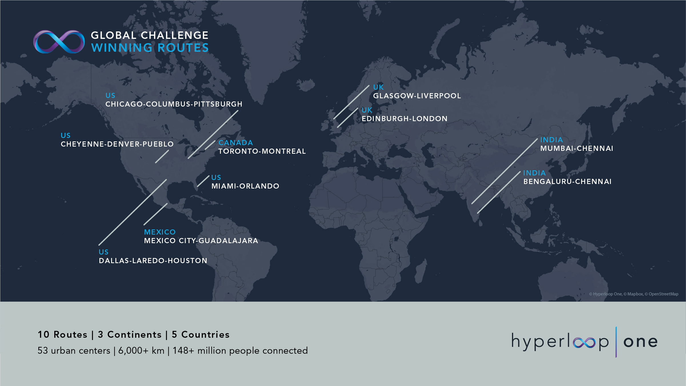These are the winning routes of the Hyperloop One Global Challenge