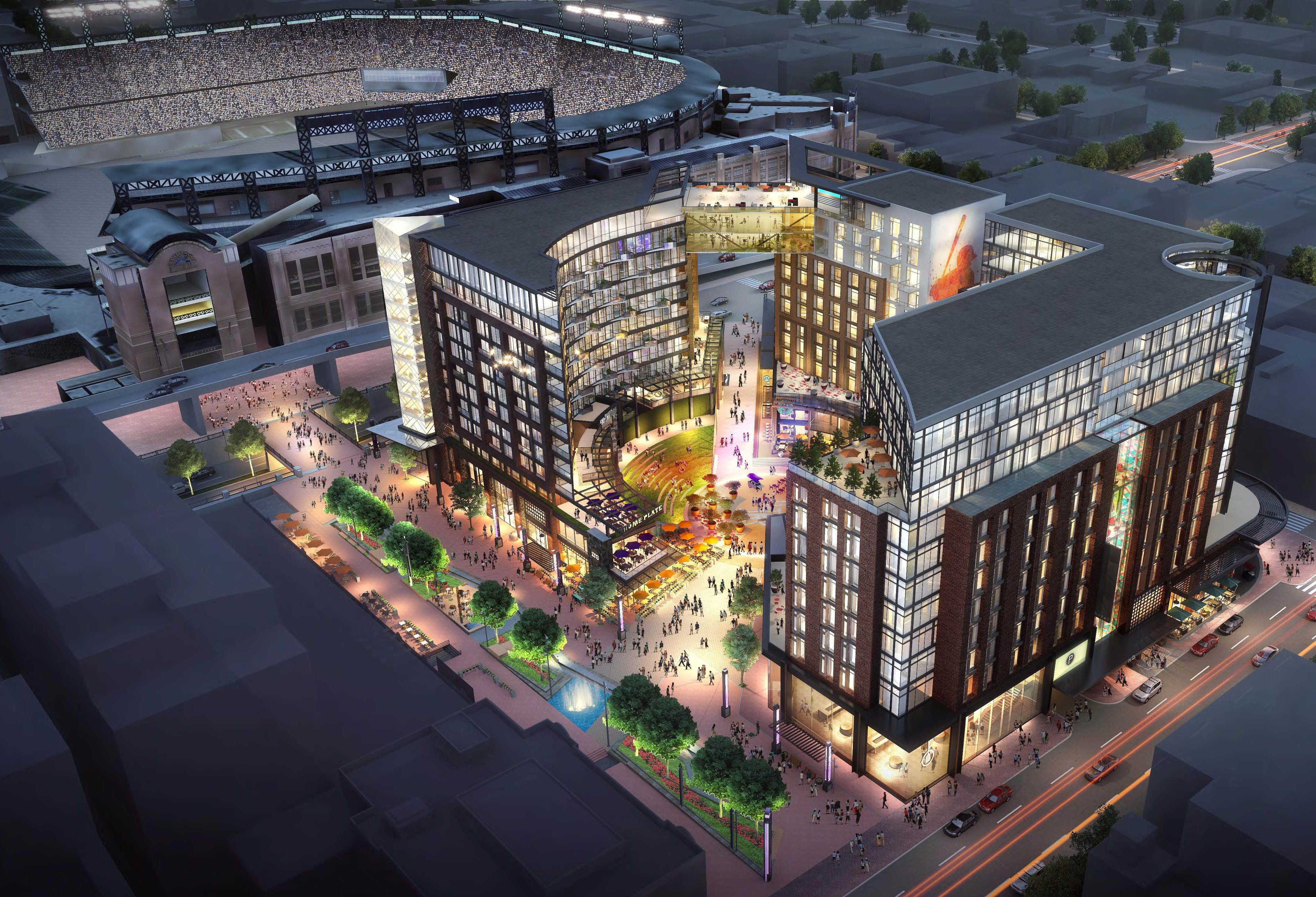 This Rendering Shows The Colorado Rockiesu0027 West Lot Development That Will  Cover A City Block Adjacent To Wynkoop Plaza And Coors Field.