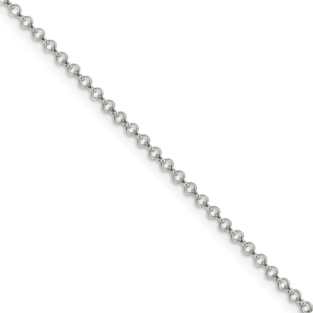 Sterling Silver 2mm Solid Rolo Chain Anklet, 10 Inch