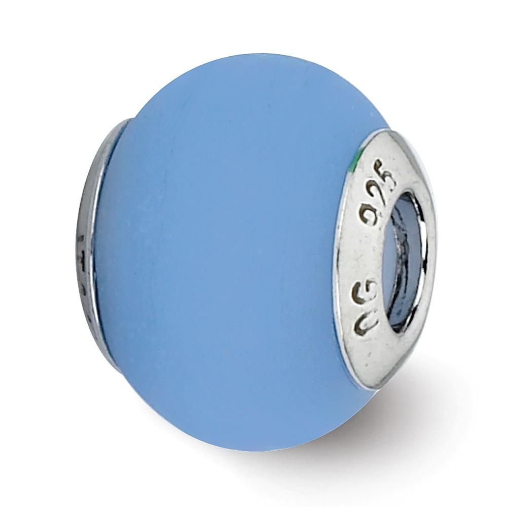 Blue Matte Italian Murano Bead & Sterling Silver Charm, 14mm